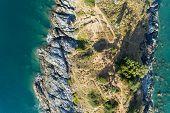 Top View Landscape Of Beautiful Tropical Sea With Sea Coast View In Summer Season Image By Aerial Vi poster