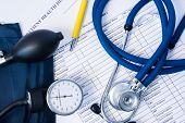Diagnostic Equipment - Stethoscope, Blood Pressure Gauge Lying On Patient Health History And Questio poster
