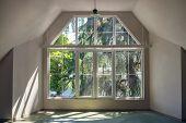 Sun Light Through The Large White Windows In Empty Interior poster