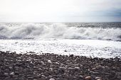Sea Wave Surf. Sea Waves With A Lot Of Sea Foam. Beautiful Blue Waves With A Lot Of Sea poster