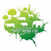 World Wildlife Day Banner Design, Animal In Forest Design By Brush Stroke Concept poster