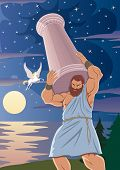 The Titan Atlas Supports The Heavens By Means Of A Pillar On His Shoulders. The Winged Horse Pegasus poster