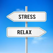 Stress Or Relax. Road Signs Of Stress And Relax. Vector Stock. poster