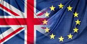 British and European Union flags. Brexit poster