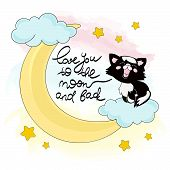 Moon Kitty Good Night Animal Cartoon Vector Illustration Set For Print, Fabric And Decoration. poster