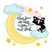 Moon Kitty Good Night Animal Cartoon Vector Illustration Set For Print, Fabric And Decoration. poster