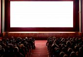 Cinema Empty Screen With Audience. Blurred People Silhouettes Watching Movie Performance. Copy Space poster