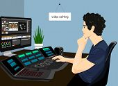 Video Editor Working Vector Icon. Concept Of Video Editing Illustration. Man On The Chair Editing Vi poster