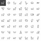 Animals Side View Line Icons Set. Linear Style Symbols Collection, Outline Signs Pack. Vector Graphi poster