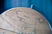 China India And South East Asia Countries Map In A Retro Old Classic Vintage Earth Globe In Executiv poster