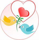Постер, плакат: Красный любовь птица с сердцем воздушные шары над бежевый Векторный фон