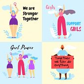 Set Of Colorful Banner With Brave Feminist Girls Struggle For Women Rights, Feminism Quotes. Girl Po poster