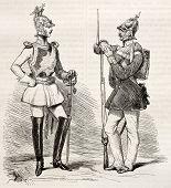 Постер, плакат: Прусская армия Униформа старой иллюстрации Созданный Brugnot Опубликовано Magasin Pittoresque Париж
