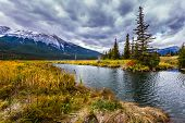 Autumn in Canada. Fabulous Landscape -  lakes, yellow autumn grass and firs. The valley along the Po poster