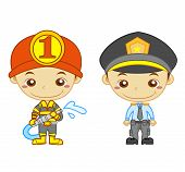 stock photo of truncheon  - A policeman and a firefighter isolated on white background - JPG