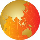 stock photo of cartographer  - Map of the Asia on a spherical globe cartographic illustration - JPG