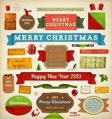 Set of vector Christmas ribbons, old dirty paper textures and vintage new year labels. Elements for