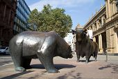 FRANKFURT, GERMANY - AUG 22: The Bull & Bear Statues at the Frankfurt Stock Exchange on August 22, 2