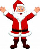 Happy Santa cartoon waving hand