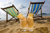 picture of pina-colada  - Vacation with Pina Colada on Tropical Beach - JPG
