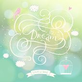 Romantic dream postcard with clouds, bird and cage in the sky. Vector lovely background with bokeh e
