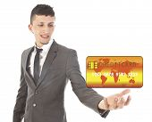 Young Man Holding Credit Card Isolated On White Background