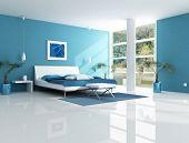 Постер, плакат: Современный Синяя спальня