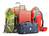 picture of knapsack  - Luggage consisting of large suitcases rucksacks and travel bag isolated on white - JPG