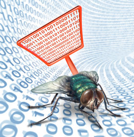 stock photo of virus scan  - Computer bug security service as a high technology concept for digital data protection with a red fly swatter killing a bug on a binary code background as scanning for viruses on electronic devices - JPG