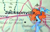 A closeup of Jacksonville, Florida in the USA on a map