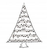 pic of nightingale  - Musical tree with notes and a treble clef - JPG