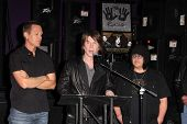 Mike Malinin, John Rzeznik, Robby Takac at the Goo Goo Dolls RockWalk Induction, Guitar Center, Holl