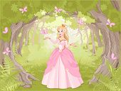 stock photo of charming  - Charming princess a fantastic wood surrounded by butterflies - JPG