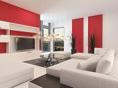 stock photo of lounge room  - Modern white living room interior with red accents on the walls and a large comfortable upholstered lounge suite with ottomans facing a television set - JPG