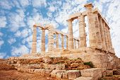 foto of poseidon  - View of Temple of Poseidon on cape Sounion - JPG