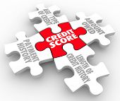 picture of borrower  - Credit Score words on puzzle pieces as factors in your rating  - JPG