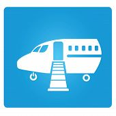 picture of aeroplane symbol  - plane symbol in blue button - JPG
