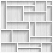 stock photo of wooden crate  - Empty white shelves on the wooden wall in gray colors vector background - JPG
