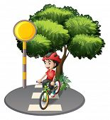 picture of post-teen  - Illustration of a street with a boy biking on a white background - JPG