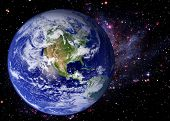 stock photo of north star  - Earth world galaxy stars space universe background - JPG