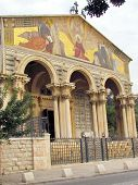foto of gethsemane  - Facade of the Church of All Nations in Gethsemane garden of Jerusalem Israel - JPG
