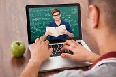 image of math  - Male college student attending online math - JPG