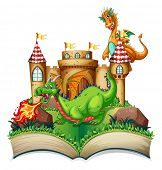 picture of storybook  - Illustration of a popup book with dragon and castle - JPG