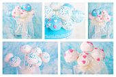 pic of cake pop  - Collage of delicious wedding cake pops in white and soft blue - JPG
