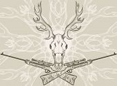 stock photo of skull cross bones  - Deer skull and crossed rifles - JPG
