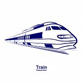 stock photo of passenger train  - passenger railway speed train move icon vector - JPG