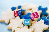 foto of hanukkah  - Hanukkah white and blue stars hand frosted sugar cookies - JPG