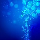 picture of node  - Shiny musical blue waves with musical notes on stylish blue background - JPG