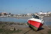 stock photo of life-boat  - Small port of saint gilles cross of life in France - JPG
