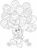 picture of cony  - Little rabbit walking with colorful balloons decorated like Easter eggs - JPG